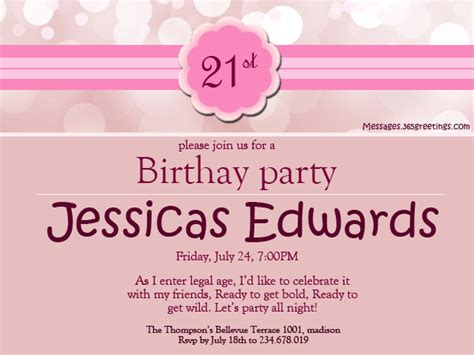 21st birthday invitation wording sles 21st birthday invitations 365greetings