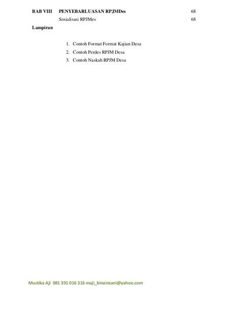 format usulan musrenbang desa panduan penyusunan rpjm desa 6 rev 3