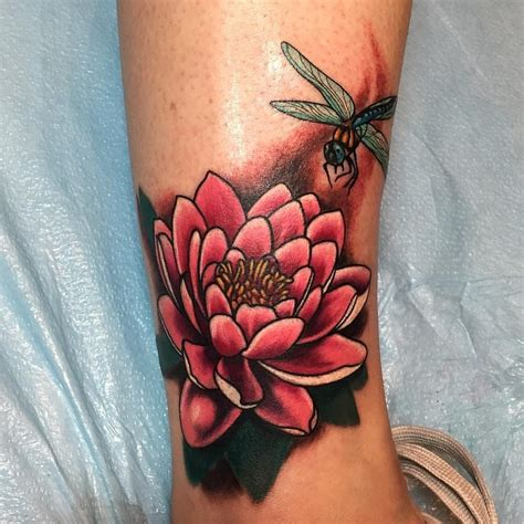 colorful dragonfly water lily tattoo creativefan