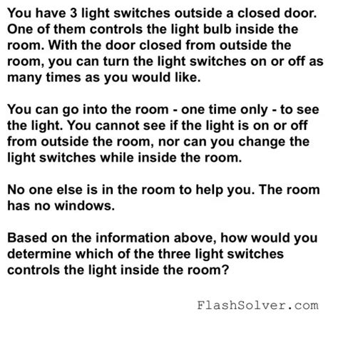 Light Bulb Riddle by Three Light Switches Riddle Flash Solver