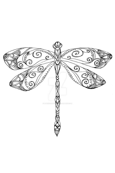 patterned dragonfly ink drawing by amandaruthart on deviantart