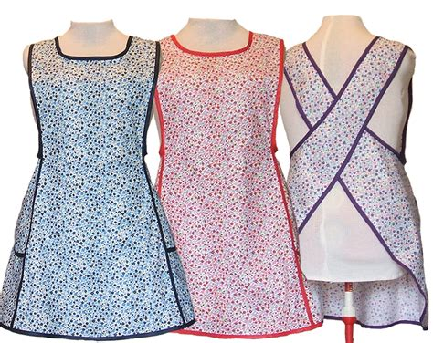 pattern cross back apron plus size apron cross back apron no tie apron blue red