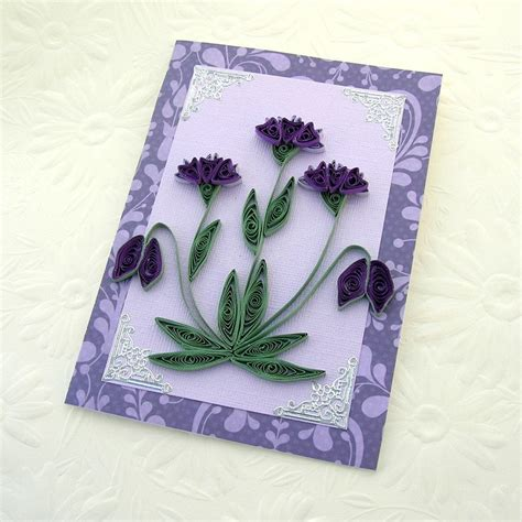 Paper Greeting Cards - paper quilling greeting card paper quilled purple and