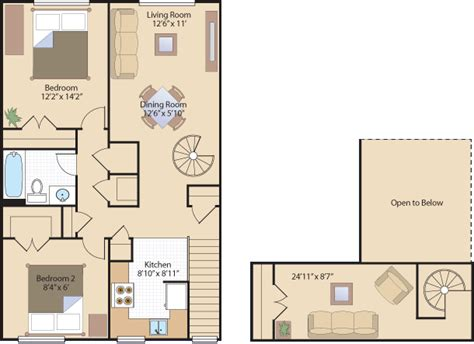 2 bedroom floor plan with loft 2 bedroom 2 bedroom apartments in southeast dc heights apts