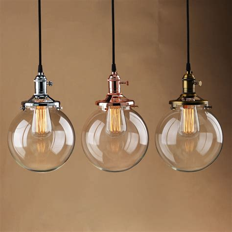 Kitchen Island Pendant Lighting Fixtures by Vintage Industrial Pendant Light Glass Globe Shade Ceiling
