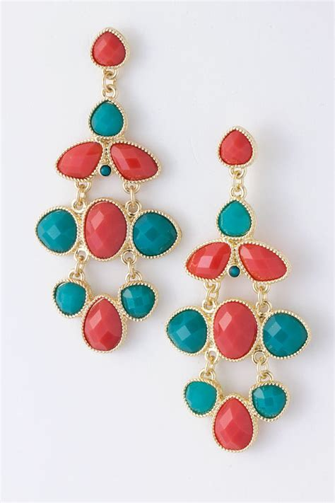 coral and turquoise earrings bellelizza