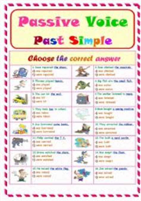 pattern of simple past active and passive english worksheets passive voice worksheets page 17