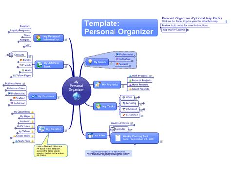 mindmanager personal organiser template mind map biggerplate