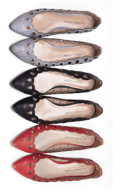 Pretty Flats by Pointed Toe Leather Flats With Cut Out All Scalloped