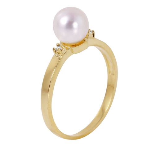 fashion strada 14k solid gold ring with diamonds pearl