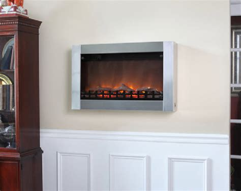 stainless steel wall mounted electric fireplace 31 quot moderna stainless steel wall mounted electric fireplace