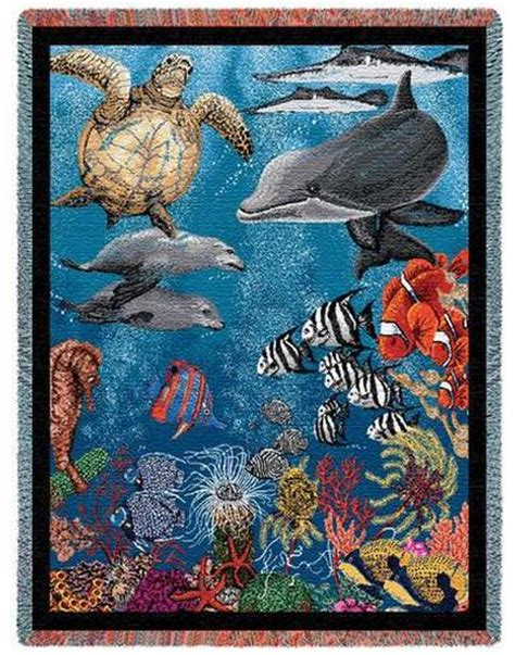 tapestry throws couch an excellent variety of sea life seashells and ocean life