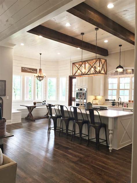 Kitchen, island, shiplap, wood beams, kitchen nook, modern