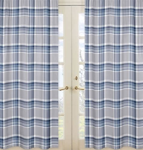 navy plaid curtains window treatment panels for navy blue and grey plaid boys