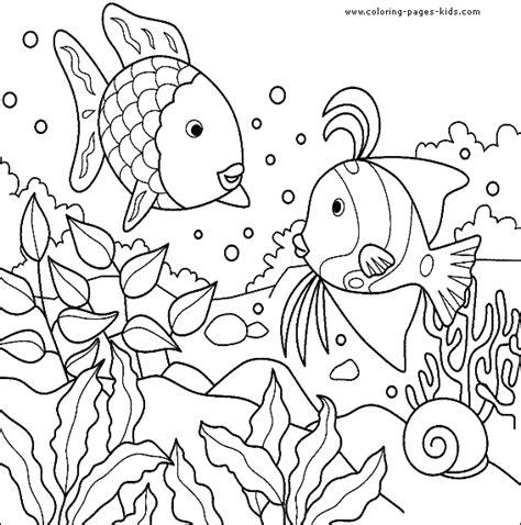 Poster Gambaran Princes swimming fish color page