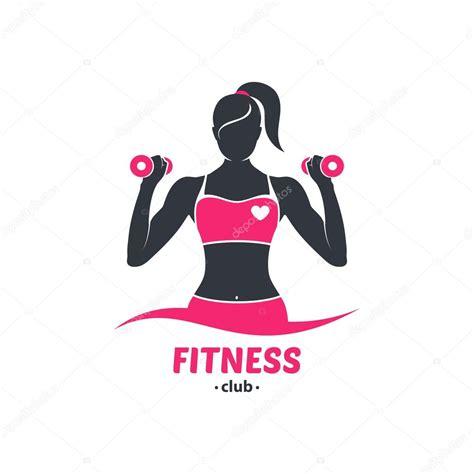 imagenes logos fitness silueta de chica fitness logo vector de stock