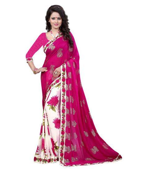 Pink Saree gazal fashions pink chiffon saree buy gazal fashions