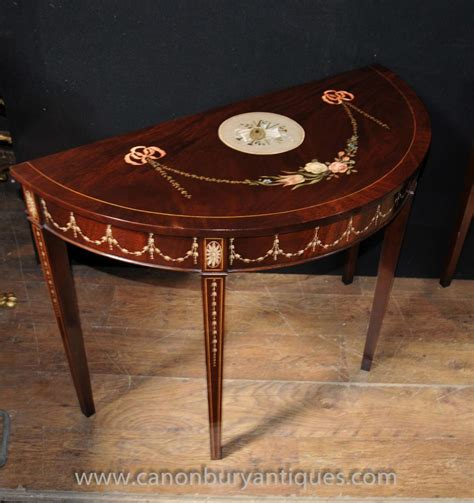 Regency Furniture by Pair Sheraton Painted Console Tables In Mahogany Regency