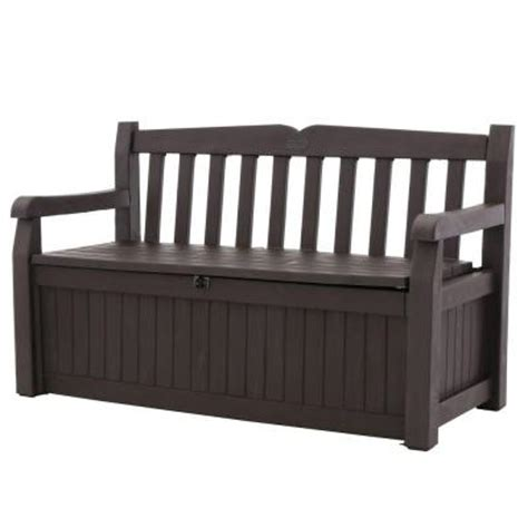 keter bench box keter eden 70 gal bench deck box in brown 213126 the