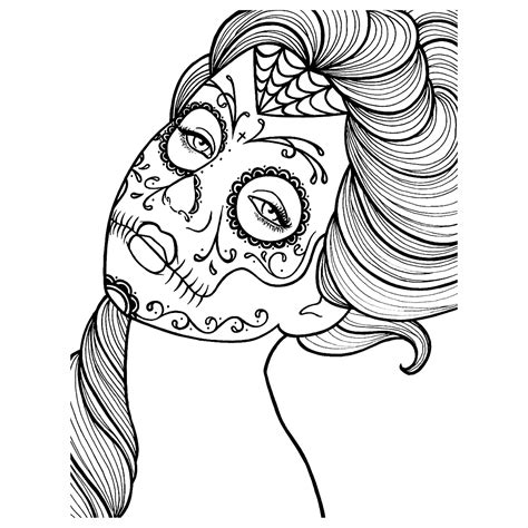 day of the dead face coloring pages caveiras mexicanas para colorir imagens png