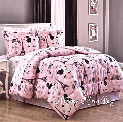 paris bedding full paris chic eiffel tower french poodle teen girls pink comforter bed set sheets ebay