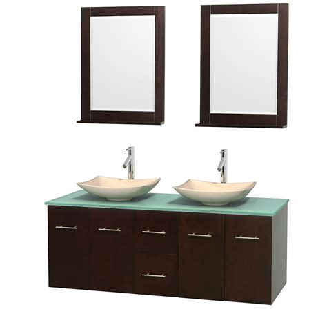 60 Inch Bath Vanity Wyndham Collection Wcvw00960desgggs5m24 Centra 60 Inch Bathroom Vanity In Espresso Green