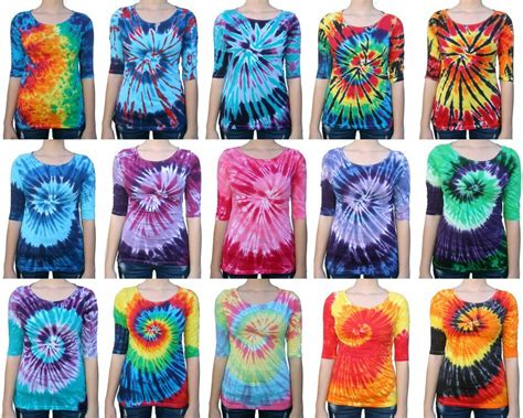 tie dye colors tie dye t shirt 3 4 sleeve s regular fit multi