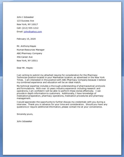Cover Letter Pharmacy Technician pharmacy technician cover letter resume downloads