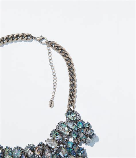 Kalung Zara Claris Necklace Grey zara rhinestone necklace in silver only one lyst