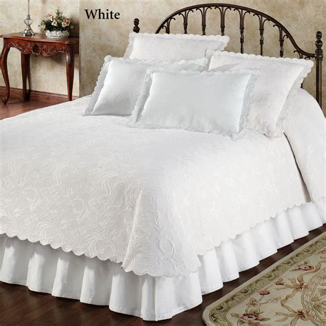 scalloped coverlet botanica woven matelasse coverlet bedding