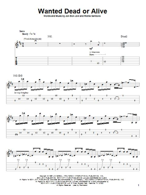 Wanted Dead Or Alive Guitar Chords