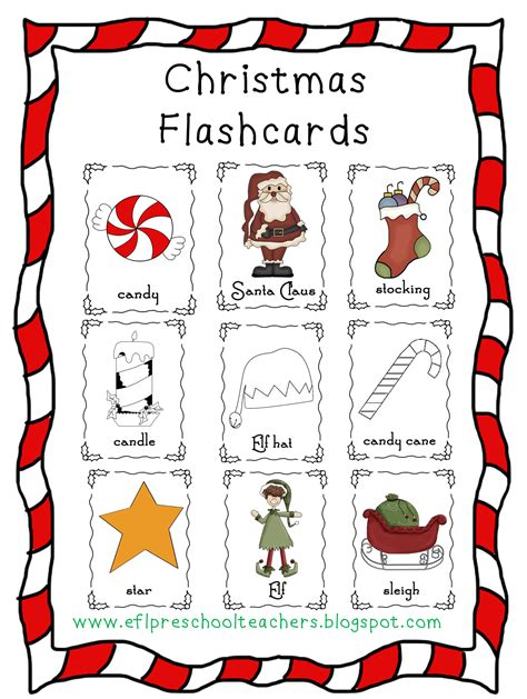 printable christmas flashcards esl efl preschool teachers christmas