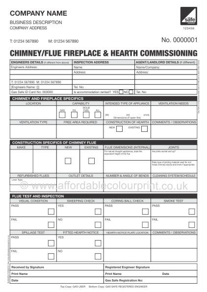 Chimney Flue Fireplace Hearth Commissioning Report Commissioning Report Template