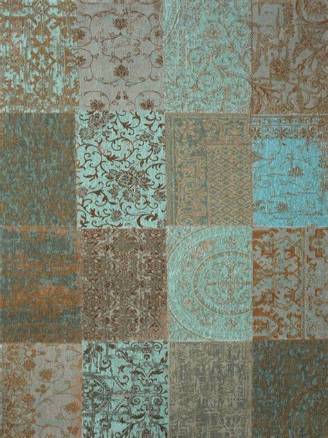 mint green vloerkleed rond louis de poortere vintage kelim tapijt 8006 sea blue blauw