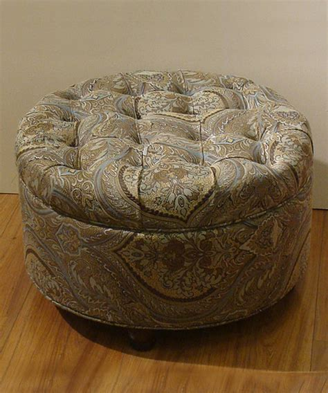 paisley ottoman brown teal paisley button tufted storage ottoman contemporary footstools and ottomans
