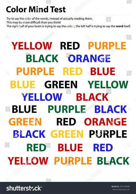 color word test color mind test reading words easier stock vector