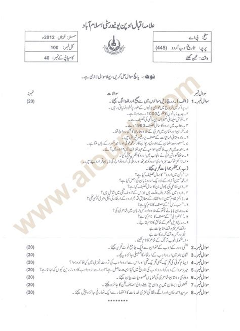 Mba Executive Means In Urdu by History Of Urdu Literature Code 445 Level Ba Aiou