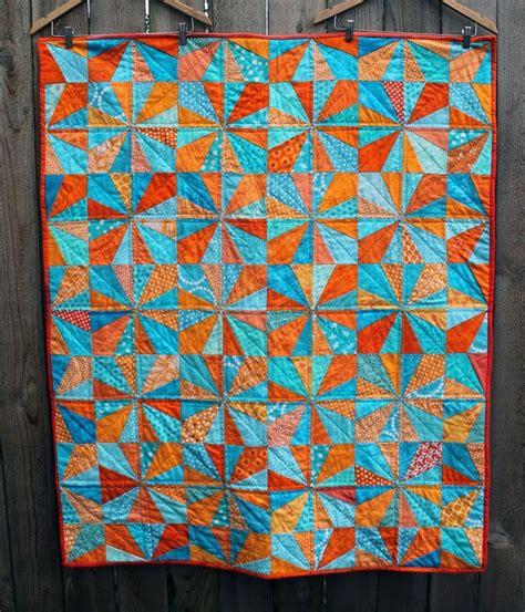 Orange Quilt Blue Orange Finished Modern Quilt Quilting