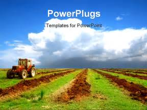 agriculture powerpoint template powerpoint template a tractor in a field with clouds in