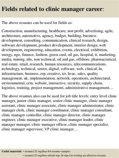 clinic manager resume top 8 clinic manager resume sles