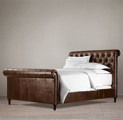 Chesterfield Sleigh Bed Chesterfield Leather Sleigh Bed Interiors Architecture And Garden