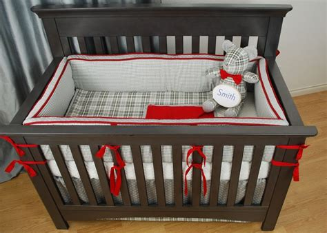 Plaid Crib Bedding Navy And Grey Plaid Crib Bedding With Trims Industrial Style Nursery Steam Styling