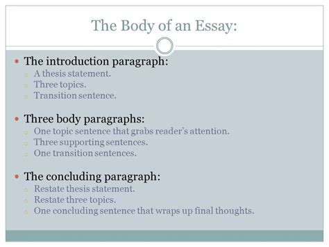 thesis in three the five paragraph essay ppt
