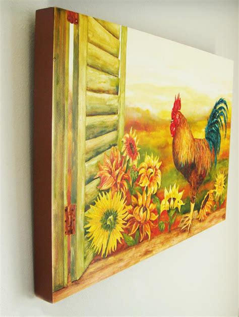 sunflower kitchen decorating ideas sunflower and rooster decor kitchen art prints on canvas