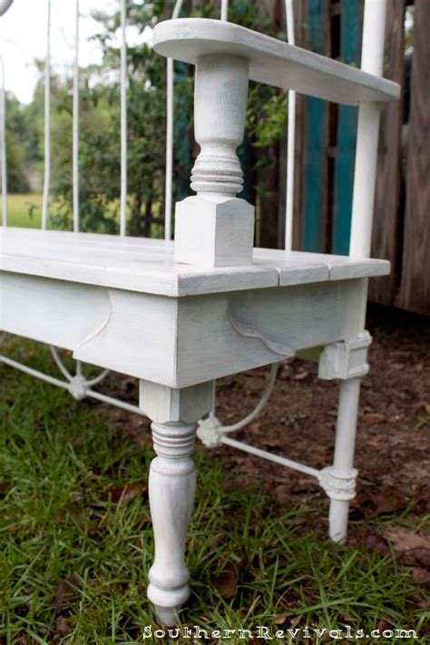 headboard bench plans diy repurposed metal headboard bench southern revivals