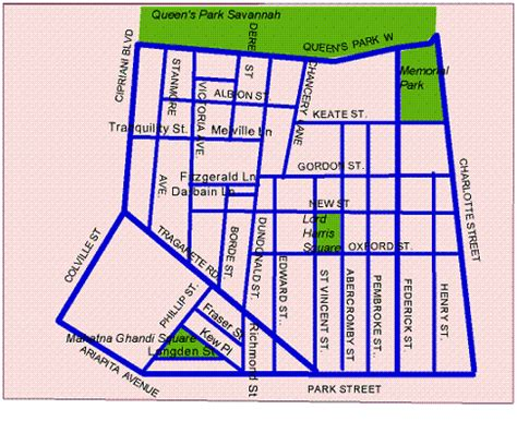 map of port of spain streets uptown port of spain map