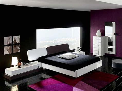 Purple and cream bedroom, black and purple interior