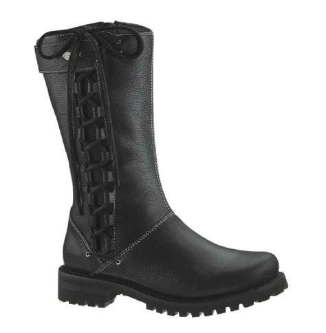 laced motorcycle boots harley davidson women s melia welted 10 inch motorcycle