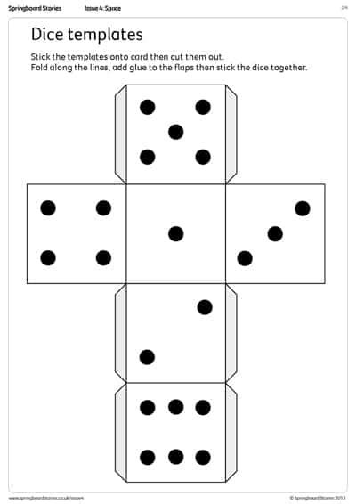 Directional Dice Templates Springboard Stories Make Your Own Dice Template