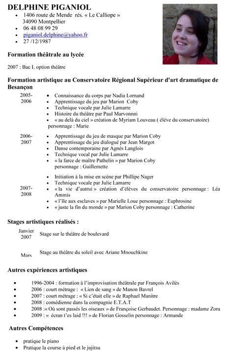 Cv En Franàçais Modèle resume format presentation d un cv en francais